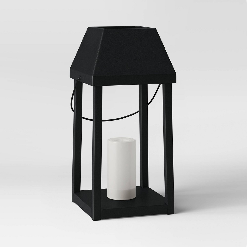 """Image of """"18.5"""""""" Large Metal Outdoor Lantern with Black Hood and LED Candle Black - Threshold"""""""