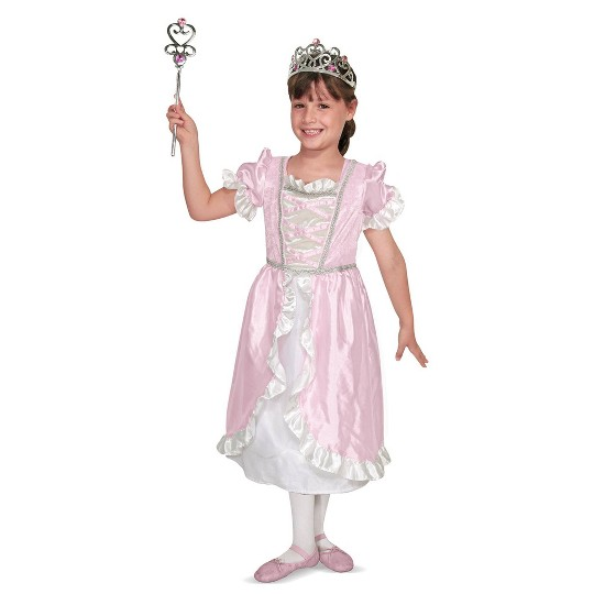 Melissa & Doug Princess Role Play Costume Set (3pc)- Pink Gown, Tiara, Wand, Women's, Size: Small image number null