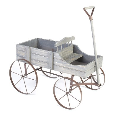 Lakeside Wooden Country Planter Wagon with 2 Planting Sections