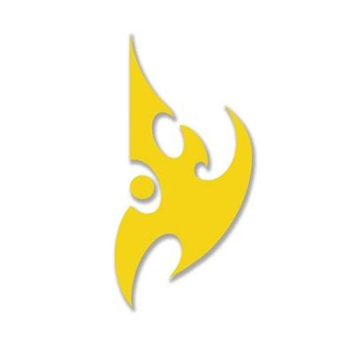 "JINX Inc. StarCraft II 5""x5"" Die Cut Vinyl Decal Sticker: Protoss, Yellow"