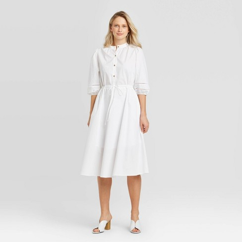 Women's Puff Elbow Sleeve Collared Shirtdress - Who What Wear ™ - image 1 of 3