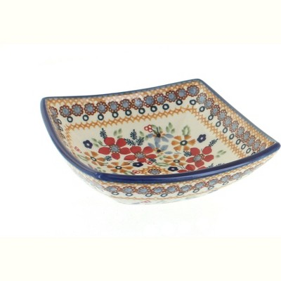 Blue Rose Polish Pottery Red Daisy Small Square Bowl