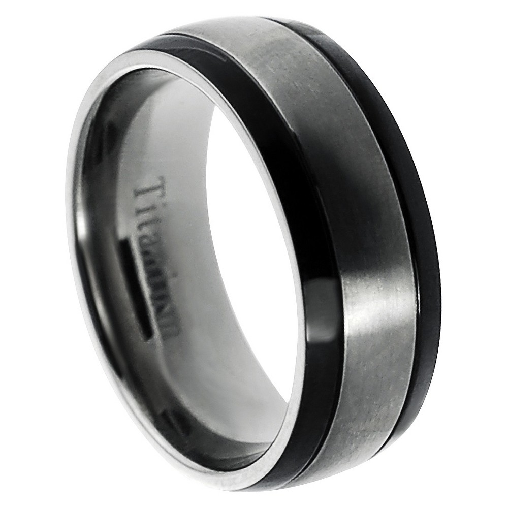 Men's Daxx Titanium Brushed Center and Side Grooved Band (8 mm) - Black (8), Silver