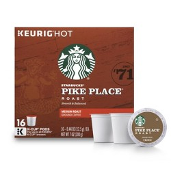 Starbucks Pike Place Medium Roast Coffee - Keurig K-Cup Pods - 16ct