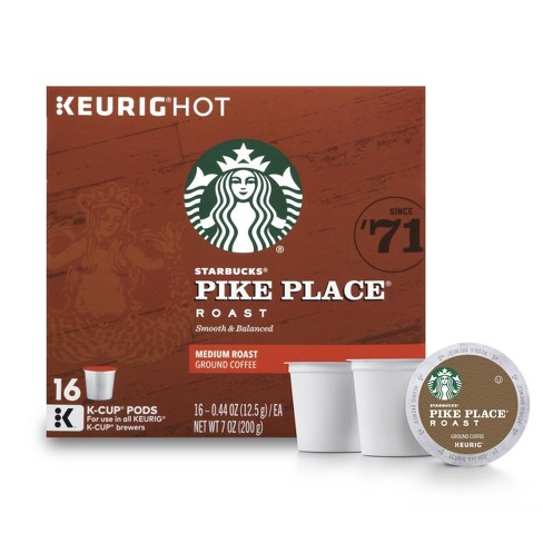 Pikes Peak Coffee >> Starbucks Pike Place Medium Roast Coffee Keurig K Cup Pods 16ct