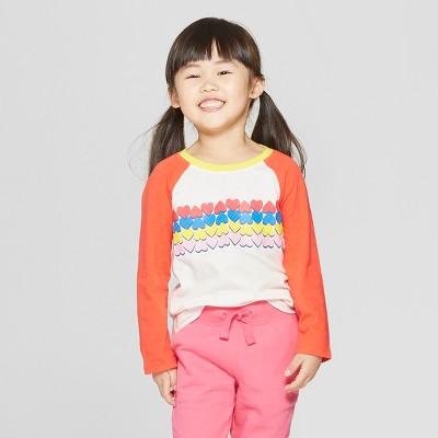 Toddler Girls' Long Sleeve 'Heart' T-Shirt - Cat & Jack™ Cream/Red 12M