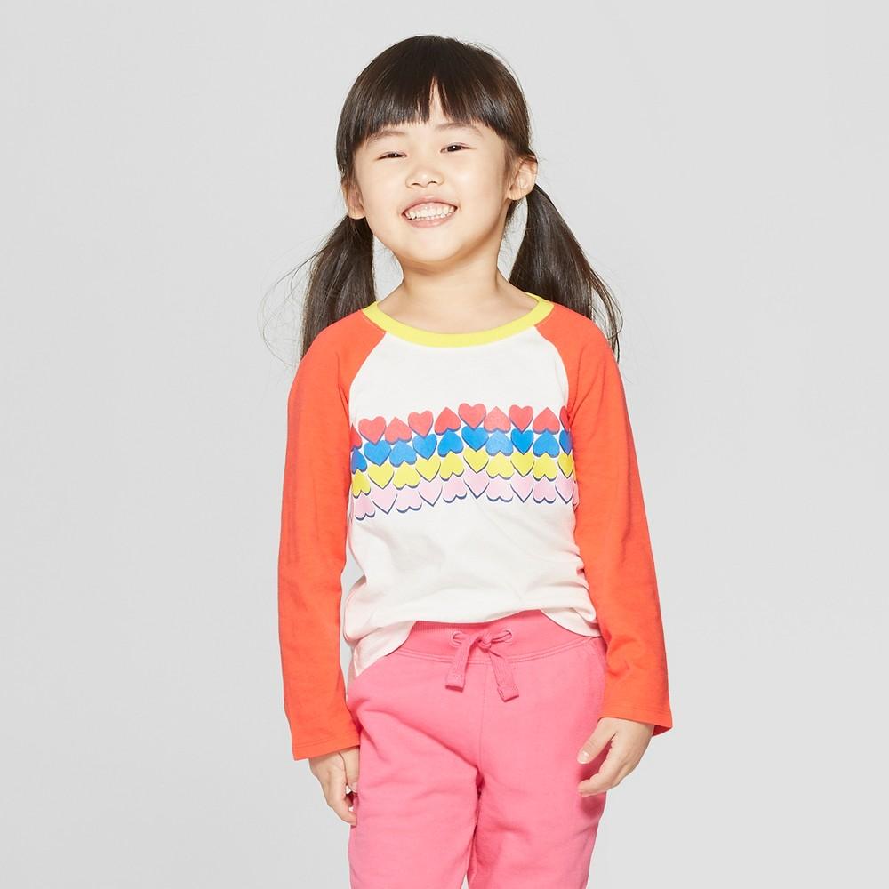 Toddler Girls' Long Sleeve 'Heart' T-Shirt - Cat & Jack Cream/Red 18M, White