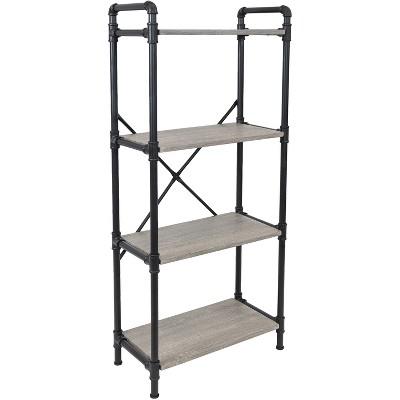 Sunnydaze 4 Shelf Industrial Style Pipe Frame Freestanding Bookshelf with Wood Veneer Shelves - Oak Gray