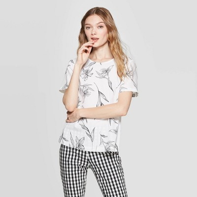 Women's Floral Print Short Sleeve Crewneck Woven Top   A New Day White/Black by A New Day White/Black