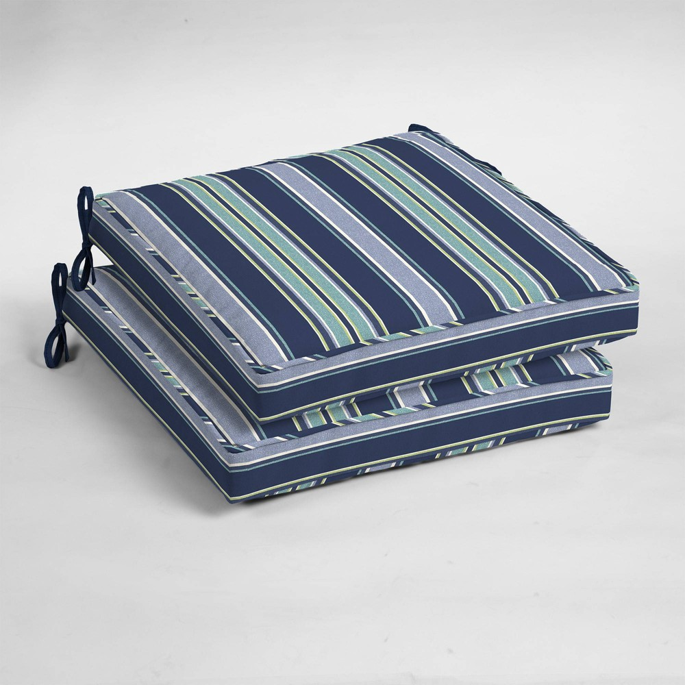 Image of 2pk Aurora Stripe Single Welt Outdoor Seat Cushions Sapphire (Blue) - Arden Selections