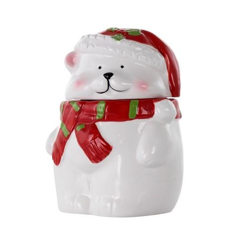 Meritage Polar Bear Red Hat Stoneware Figural Cookie Jar - image 1 of 4