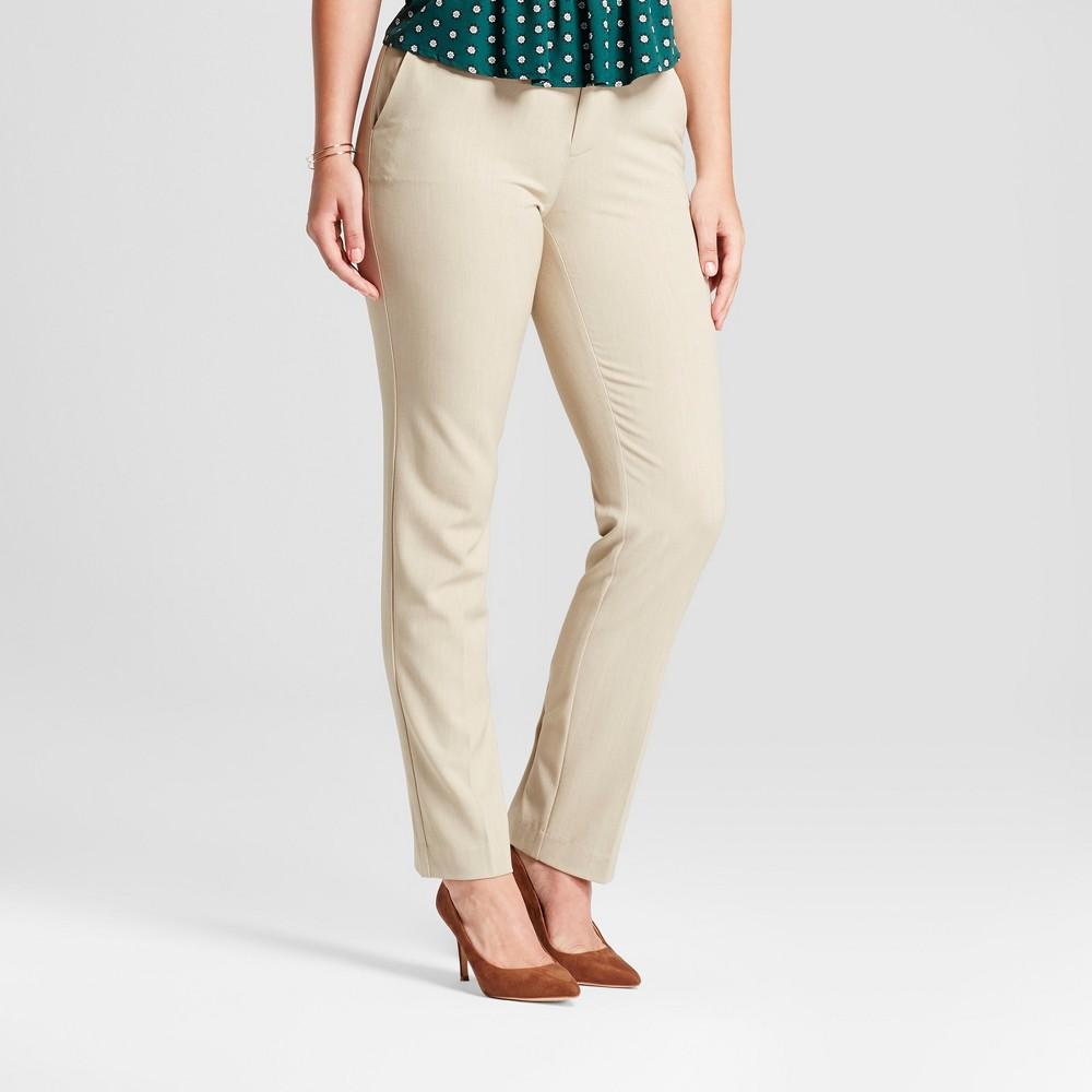Women's Straight Leg Curvy Bi-Stretch Twill Pants - A New Day Khaki (Green) 0L, Size: 0 Long