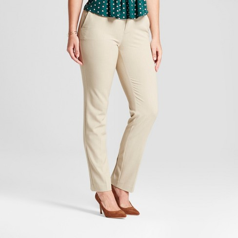 Women's Straight Leg Curvy Bi-Stretch Twill Pants - A New Day™ Khaki 6 - image 1 of 3
