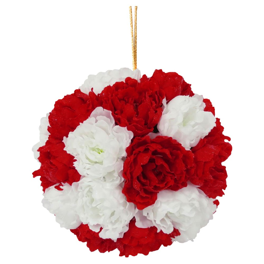 Image of 12 Red and White Peony Hanging Ball - National Tree Company