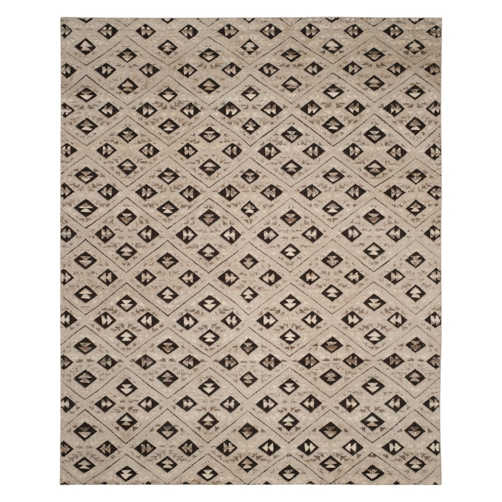 9'X12' Tribal Design Knotted Area Rug Gray - Safavieh