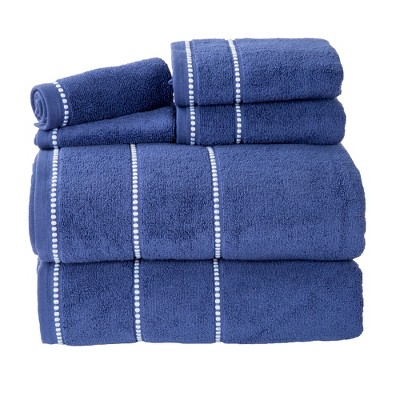 6pc Solid Bath Towel and Washcloth Set Navy - Yorkshire Home