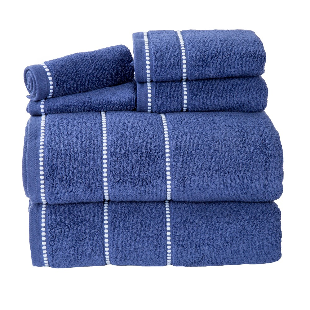 Solid Bath Towels And Washcloths 6pc Navy (Blue) - Yorkshire Home