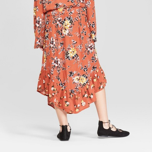 a383f86ace46 Girls' Floral Printed Midi Skirt - Art Class™ Red : Target