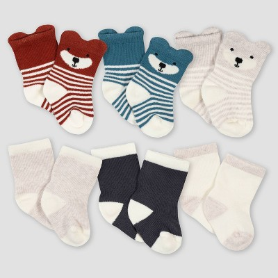 Gerber Baby Boys' 6pk Fox Jersey Wiggle Proof Socks - Blue 0-6M