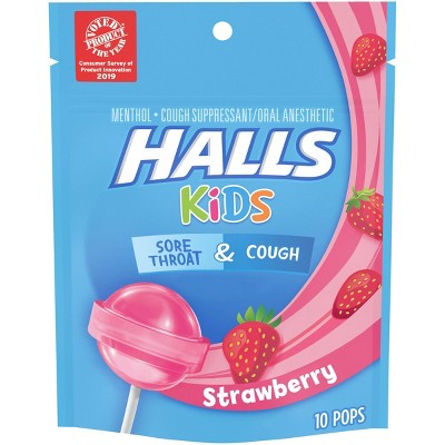 Halls Kids Cough & Sore Throat Pops - Strawberry - 10ct