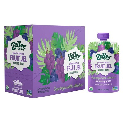 Zellee Organic Blueberry Grape Fruit Jel - 42oz/12ct