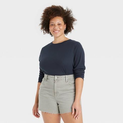 Women's Long Sleeve Slim Fit Rib T-Shirt - Universal Thread™ - image 1 of 3
