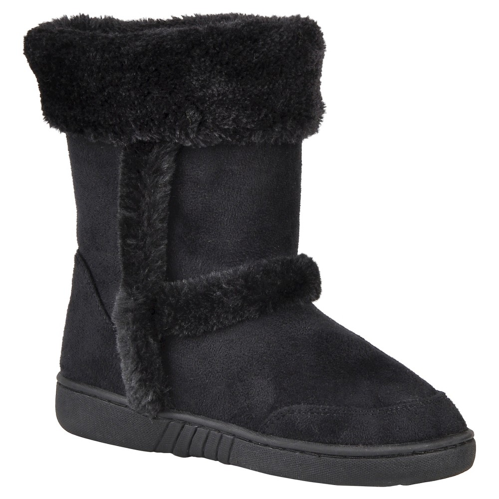 Girls' Journee Collection Chuckie Faux Fur Trim Fashion Boots - Black 2