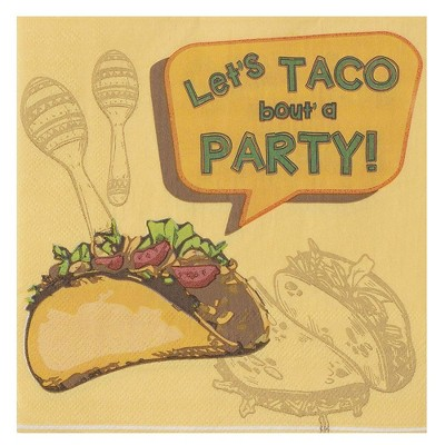 """Blue Panda 150-Pack Disposable Paper Napkins Taco Fiesta Party Supplies, 2-Ply, Folded 6.5""""x6.5"""""""
