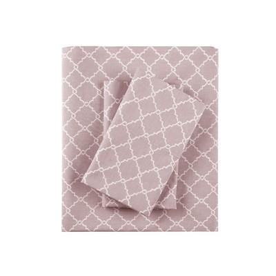 King Fretwork Geometric Printed Cotton Sheet Set Lavender