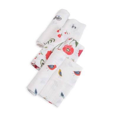 Little Unicorn Cotton Muslin Swaddle Blankets - Summer Poppy