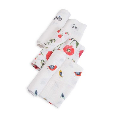 Little Unicorn Cotton Muslin Swaddle 3pk - Summer Poppy