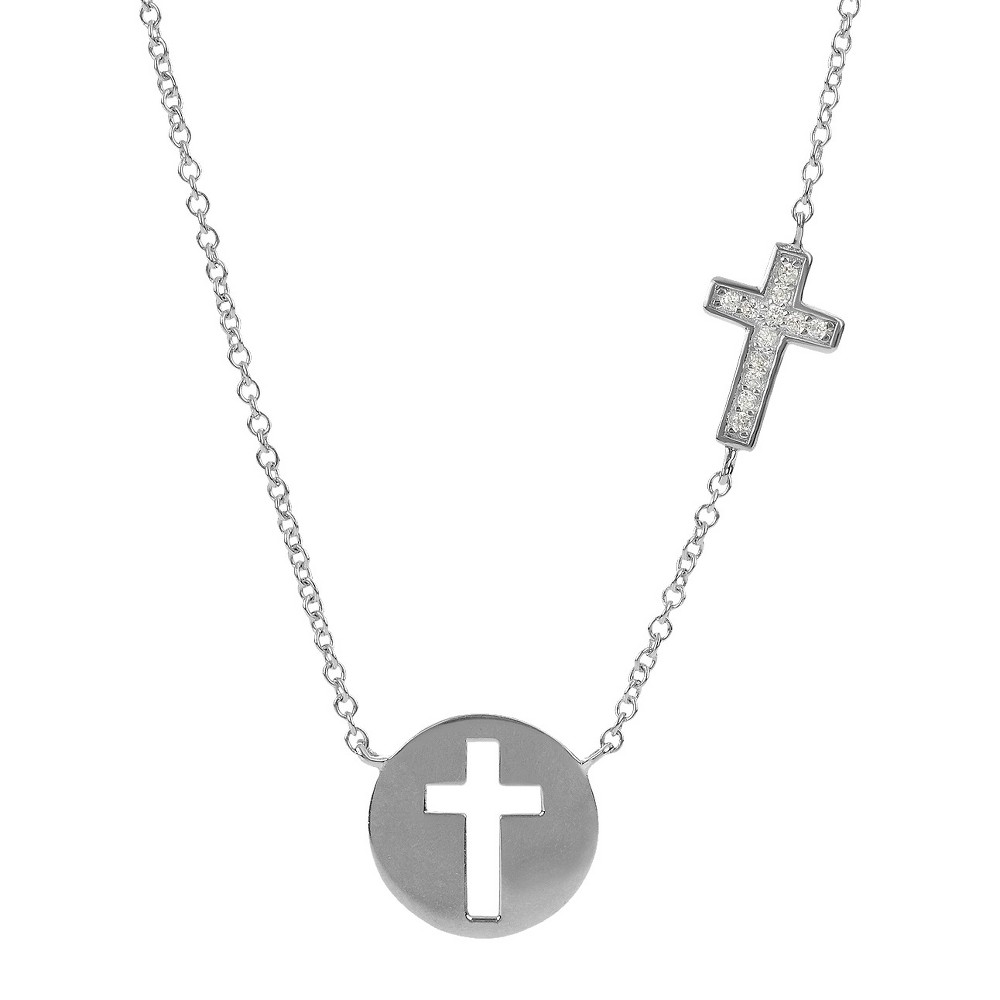 Tressa Collection Cubic Zirconia Cutout Cross Pendant Station Necklace in Sterling Silver, Girl's