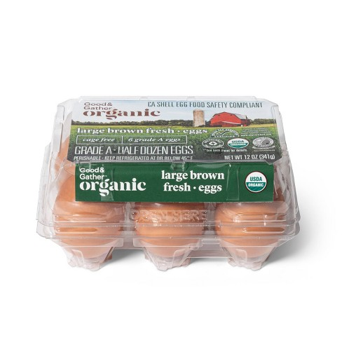 Organic Cage-Free Grade A Large Brown Eggs - 6ct - Good & Gather™ - image 1 of 3