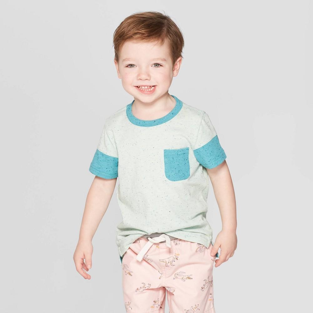Toddler Boys' Short Sleeve Colorblock Pocket T-Shirt - Cat & Jack Aqua 12M, Blue