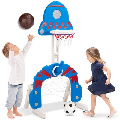 Best Choice Products 3-in-1 Toddler Basketball Hoop Sports Activity Center Grow With Me Play Set w/ Soccer, Ring Toss