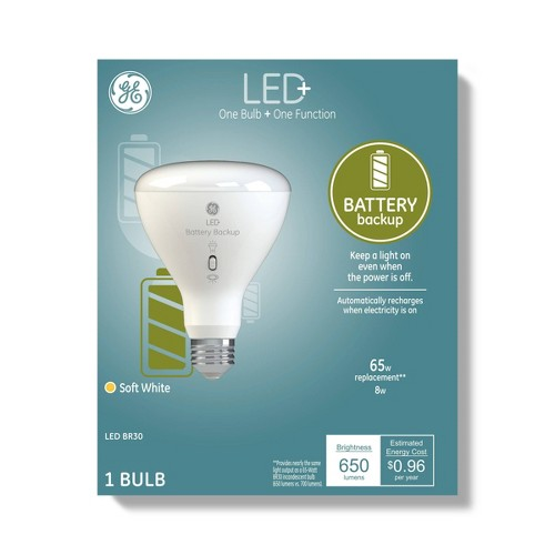 General Electric BR30 Battery Back Up LED+ Light Bulb Clear