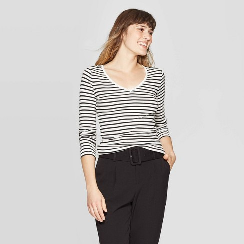 Women's Striped Regular Fit Long Sleeve V-Neck T-Shirt - A New Day™ Cream - image 1 of 3