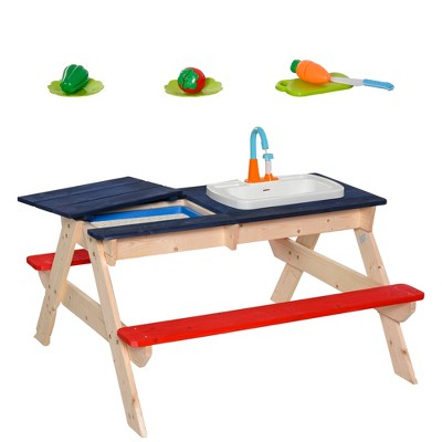 """Outsunny Kids Picnic Table with Sandbox Kitchen Toys Faucet Water Pump 37"""" L x 35"""" W x 20"""" H"""