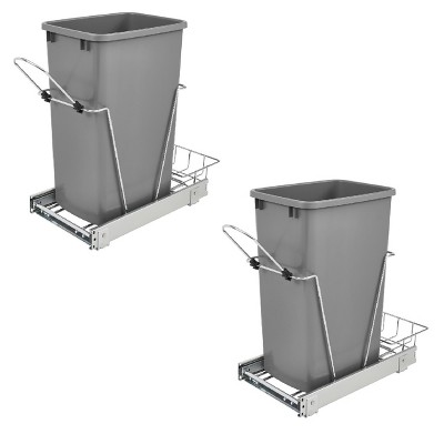 Rev A Shelf Single 35 Quart Sliding Pull Out Waste Bin Container (2 Pack)
