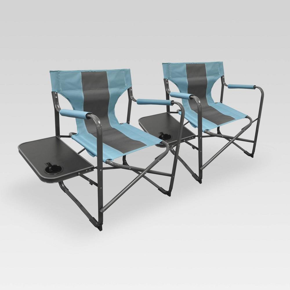 2pk Outdoor Patio Elite Director's Chair Blue/Gray - Caravan