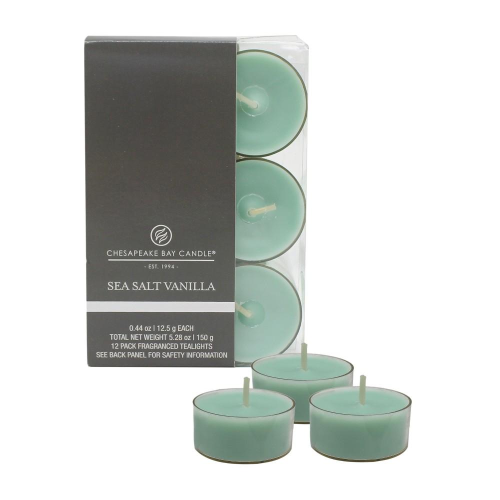 Image of .78 12pk Tea Light Candles Sea Salt Vanilla - Chesapeake Bay Candle, Blue
