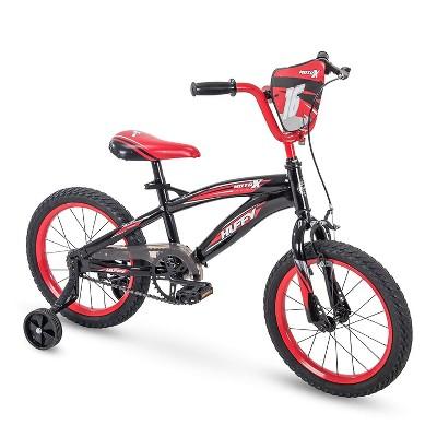 Huffy Moto X 16 Inch Age 4-6 Kids Bike Bicycle with Training Wheels & Hand Brake, Black & Red