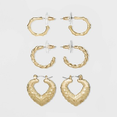 Shiny Gold Multipack Trio Hoop Earring Set - Wild Fable™ Gold