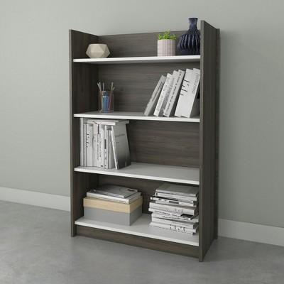 "47.5"" Chrono 4 Shelf Bookshelf Bark Gray/White - Nexera"