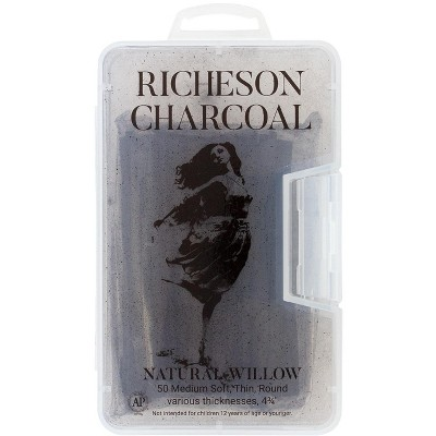 Richeson Natural Willow Non-Toxic Medium Soft Round Thin Charcoal Stick, 4-3/8  in, Black, pk of 50