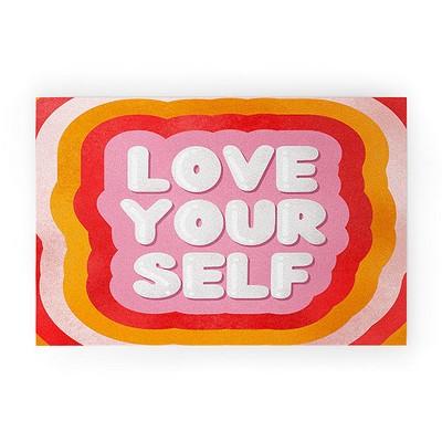 Showmemars Love Yourself retro type Welcome Mat - Society6