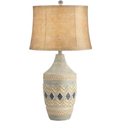 John Timberland Rustic Table Lamp Southwest Style Pattern Faux Leather Shade Living Room Bedroom Bedside Nightstand Office Family
