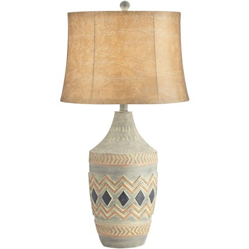 John Timberland Rustic Table Lamp Southwest Style Pattern Faux Leather Shade Living Room Bedroom Bedside Nightstand Office Family Target