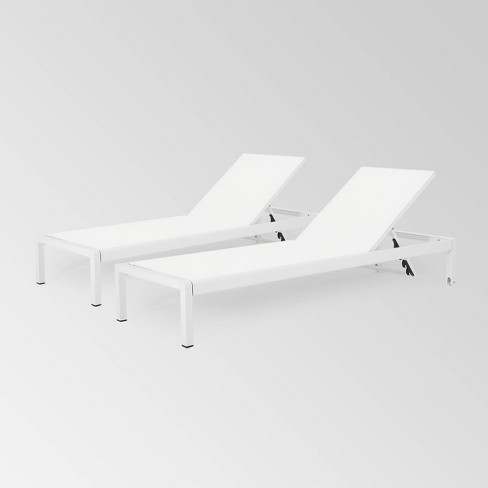 Cape Coral Set of 2 Aluminum & Mesh Chaise Lounge - Christopher Knight Home - image 1 of 4