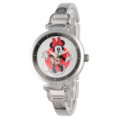 Women's Disney Minnie Mouse Silver Alloy Bridle Watch - Silver - image 1 of 2